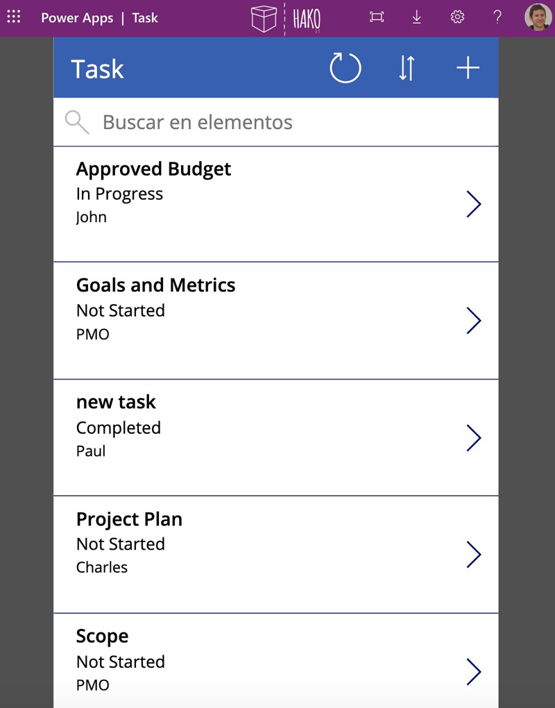 How to build an app in 30 seconds PowerApps - List