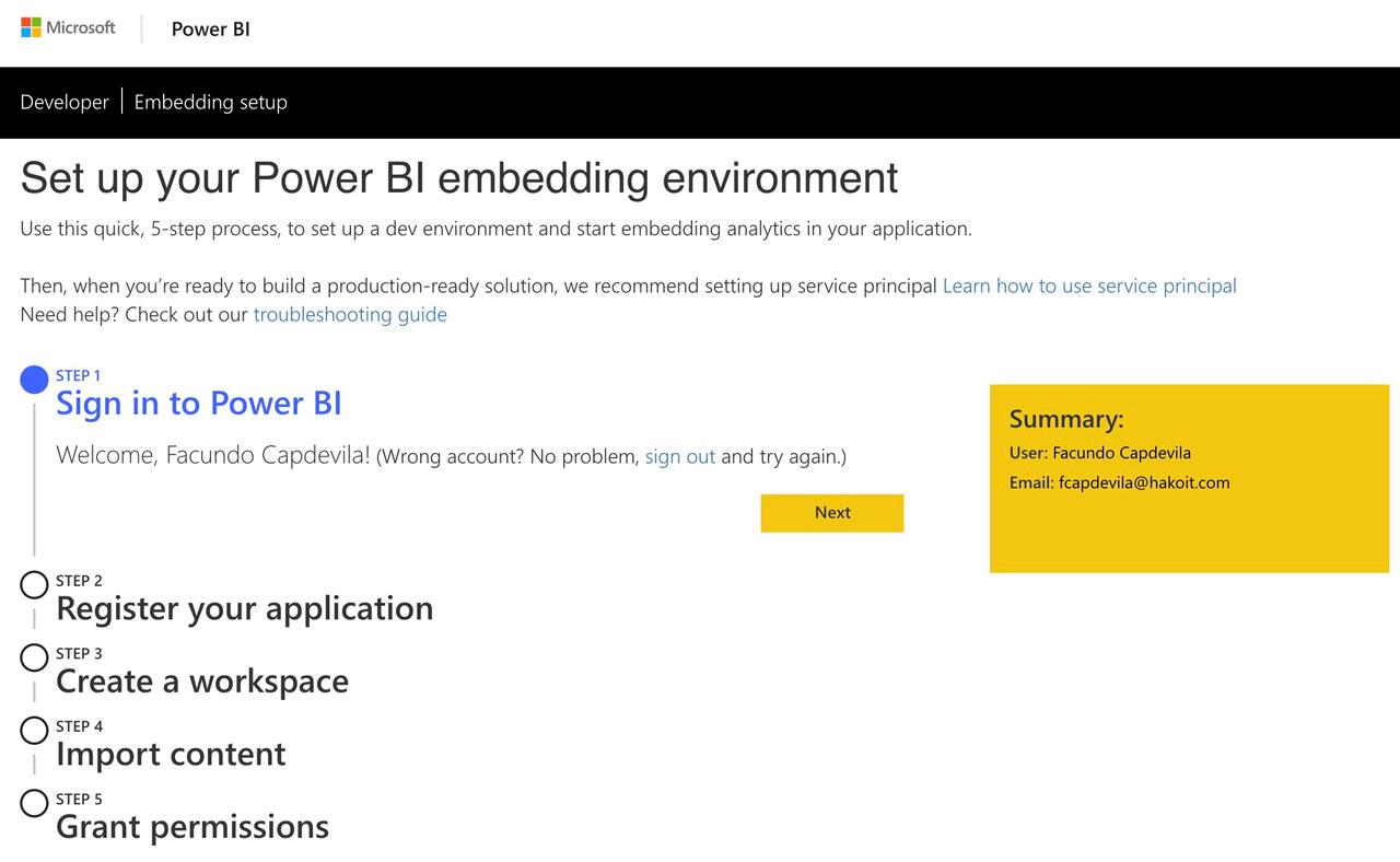Power BI Embedded environment
